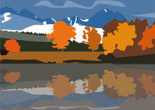 Autumn in the mountains. Colorful drawing and trees Royalty Free Stock Photography