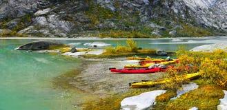 Autumn Mountains, Kayaks, Lake, Norway Royalty Free Stock Images