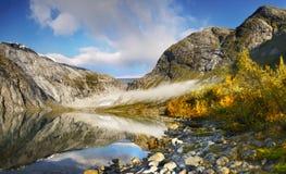 Autumn Mountains, Lake, Norway Stock Images