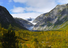 Autumn Mountains Nigard Glacier Valley  Norway Stock Photography