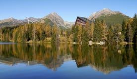 Autumn mountains with reflection in lake stock photos