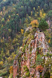 Autumn mountains rock. Mountains autumn landscape: descents covered by forest with green and yellow foliage and rock with a littlr tree on its top Royalty Free Stock Photos