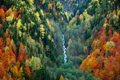 Autumn mountains and waterfall Royalty Free Stock Photography