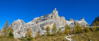 Autumn mountains yellow trees landscape in Dolomiti di Brenta, Italy long panorama. Dolomiti di Brenta, Italy, the Dolomites. Beautiful rocky peak tower stock photo
