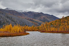Autumn. A mouth of the stream running into lake of Jack London. Mountains in snow Stock Photos