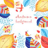 Autumn multicolored background with leaves vector illustration