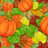 Autumn leaves pattern with pumpkins vector illustration