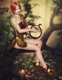 Autumn Muse, 3d computer craphics. 3D computer graphics beautiful autumn fairy sitting with a lyre in his hand on a tree Stock Images