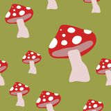 Autumn Mushrooms Seamless Pattern, Fly Agaric Background Repeat Pattern for textile design, fabric print, fashion or backgr. Ound stock illustration