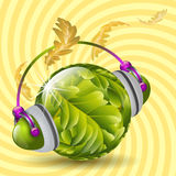 Autumn Music. Sparkling ball with oak leaves as a symbol of a green planet earth with headphones listening to music of autumn vector illustration