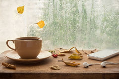 Autumn music for rainy days. Cup of coffee or tea, smartphone and earbuds with autumn leaves near a window. Autumn playlist concept. Autumn music for rainy days royalty free stock image