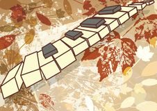 Autumn music vector background retro style frame vector illustration