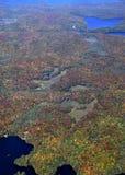 Autumn in Muskoka. Aerial view of a Autumn landscape near Huntsville in the Muskoka region of Ontario Canada Royalty Free Stock Photo