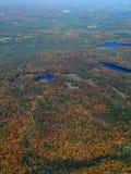 Autumn in Muskoka. Aerial view of a Autumn landscape near Huntsville in the Muskoka region of Ontario Canada Royalty Free Stock Photography