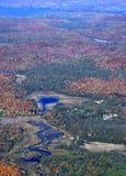 Autumn in Muskoka. Aerial view of a Autumn landscape near Huntsville in the Muskoka region of Ontario Canada Royalty Free Stock Image