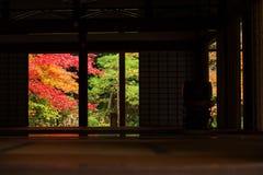 Autumn at Nanzen-ji, Kyoto. Autumn garden view from wooden building at Nanzen-ji, Kyoto, Japan Royalty Free Stock Photos