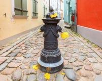 Autumn in narrow medieval street of old Riga Stock Photo