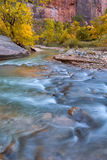 Autumn of the narrows and Virgin River in Zion National Park Zio Stock Photo