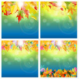 Autumn Natural Leaves Background Set brillant Illustration de vecteur Image libre de droits