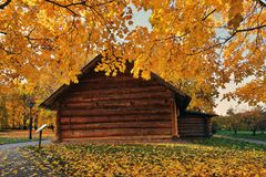 Autumn nature and architecture of Kolomenskoye park in Moscow. royalty free stock photos