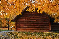 Autumn nature and architecture of Kolomenskoye park in Moscow. stock images