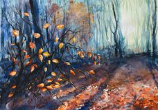 Autumn. Nature background with autumn forest.Picture created with watercolors Stock Image