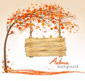 Autumn nature background with a tree and a wooden sign. stock illustration