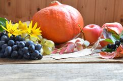 Autumn nature concept. Thanksgiving dinner, table celebration of Thanksgiving. Organic vegetarian fruits and vegetables royalty free stock image