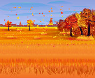 Autumn nature landscape with forest and field. Vector illustration Royalty Free Stock Image