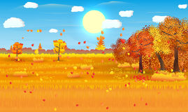 Autumn nature landscape with forest and field Stock Photo