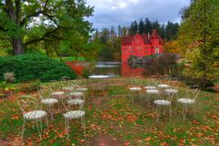 Autumn near Red /Cervena/ Lhota castle /Zamek/ , Czech Republich. Landscape near Red Lhota castle, Czech Republic. Beautiful autumn picture whith colored trees Stock Photo