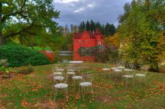 Autumn near Red /Cervena/ Lhota castle /Zamek/ , Czech Republich. Landscape near Red Lhota castle, Czech Republic. Beautiful autumn picture whith colored trees Royalty Free Stock Photo
