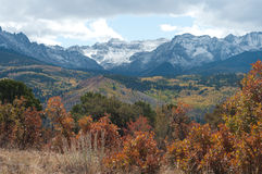 Autumn near Ridgway. Autumn afternoon near Ridgway, Colorado with snow on the San Juan Mountains in the background Stock Photo