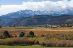 Autumn near Ridgway. Autumn afternoon near Ridgway, Colorado with snow on the San Juan Mountains in the background Stock Photos