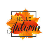 Autumn new season hello. Lettering with hand drawn letters. Label and banner template with yellow red leaves Royalty Free Stock Images