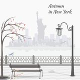 Autumn in New York. Illustration with embankment and sityscape with The Statue of Liberty. vector illustration