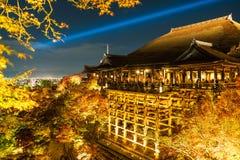 Autumn night light up at Kiyomizu-dera temple and the large vera. Nda (Kiyomizu stage), Kyoto, Japan Royalty Free Stock Image