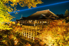Autumn night light up at Kiyomizu-dera temple and the large vera. Nda (Kiyomizu stage), Kyoto, Japan Royalty Free Stock Images