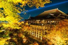 Autumn night light up at Kiyomizu-dera temple and the large vera. Nda (Kiyomizu stage), Kyoto, Japan Stock Photo