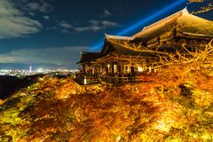 Autumn night light up at Kiyomizu-dera temple and the large vera. Nda (Kiyomizu stage), Kyoto, Japan Stock Image