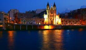 Autumn night on the mediterranean coast in Malta Island Stock Photo