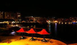 Autumn night on the mediterranean cost in Malta. Stock Photography