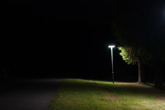 Autumn night street light Stock Photos