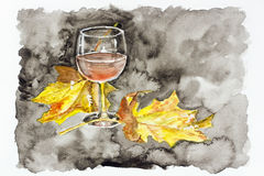 Autumn night wine of passion. Autumn night red  wine of passion concept- handmade watercolor painting  illustration on a white paper art background Stock Image