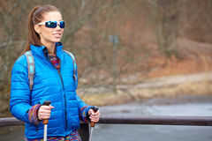 Autumn Nordic walking - active woman Stock Images