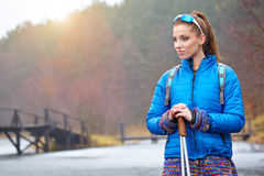 Autumn Nordic walking - active woman Royalty Free Stock Image