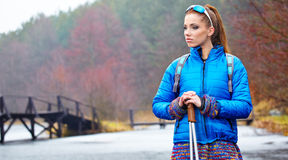 Autumn Nordic walking - active woman Stock Photo