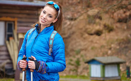 Autumn Nordic walking - active woman exercising outdoor Stock Photos