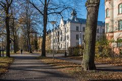 Autumn in Norrkoping, Sweden. Norrkoping, Sweden - November 6, 2017: The Southern Promenade in Norrkoping. Norrkoping is a historic industrial town and the Stock Photo