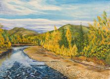 Autumn in the North. Oil painting on canvas. Autumn in the North Stock Photos